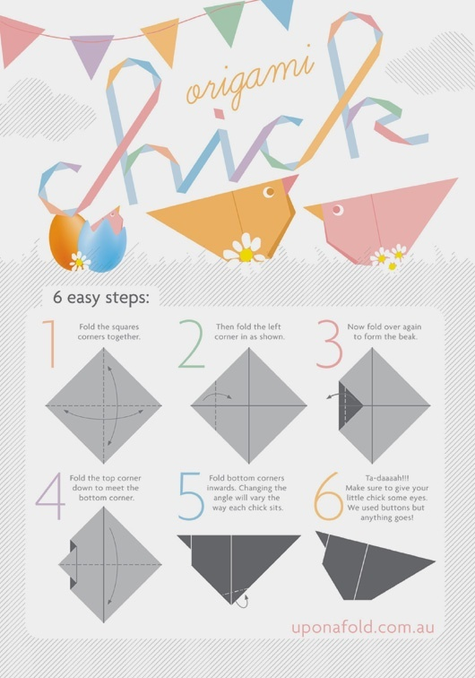 origami simple chick school easter pinterest