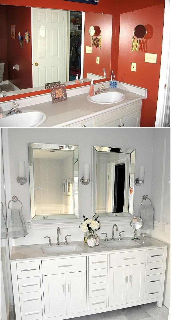 Before and after small bathroom makeovers big on style for Small master bathroom makeovers