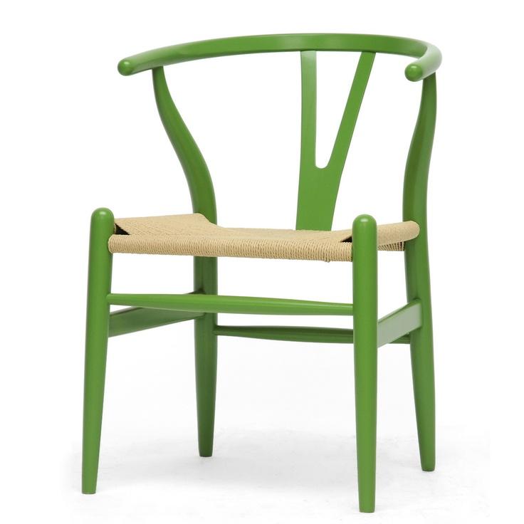 Mid Century Modern Green Wood Y Wishbone Chair