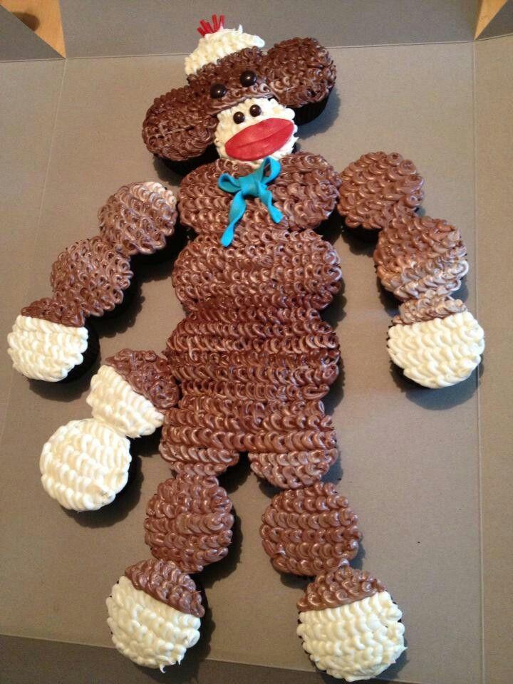 Sock Monkey cupcake cake ! cupcake cakes Pinterest