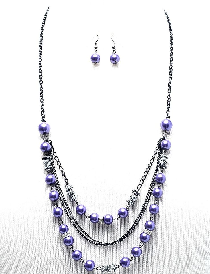 arianna beaded necklace purple