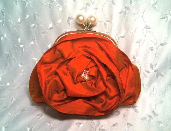 Burnt Orange Dupioni Silk Pearl Ball Clutch by lynniebbridal, $55.00