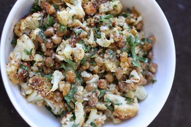 Week of Menus: Roasted Cauliflower Chickpea Salad. We love this warm ...