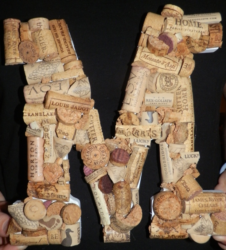wine cork letter craft ideas pinterest