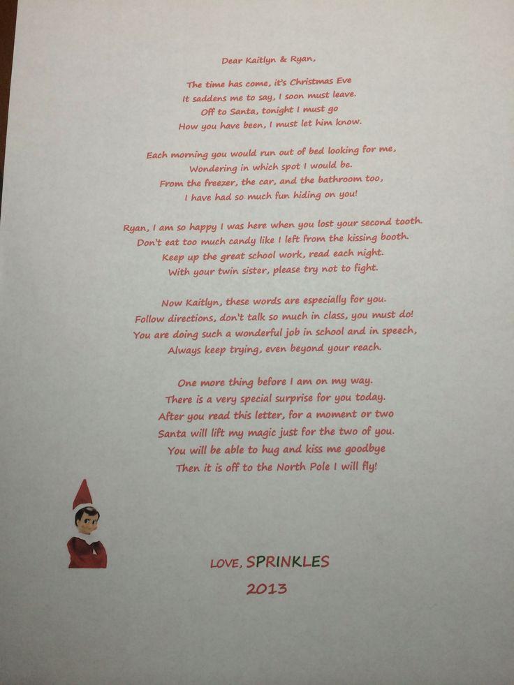 Elf on the shelf goodbye letter 2013 | Elf on the Shelf | Pinterest