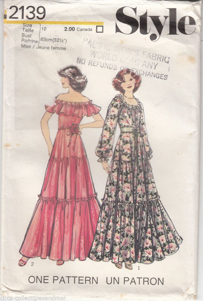 Style Sewing Pattern 2139 Misses Dress Sleeve Variation Retro Vintage 1977