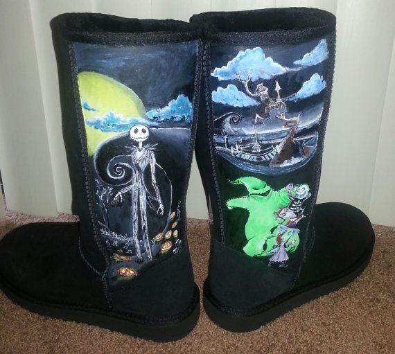 Womens Sz 7 Black Shearling Suede Boots The Nightmare Before Christmas ...