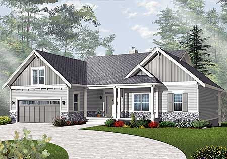 Craftsman Style Ranch House Plans Northwest Sloping Lot Craftsman