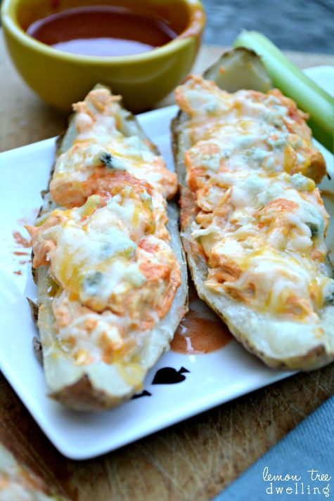 Buffalo Chicken Potato Skins topped with cheddar cheese & blue cheese ...