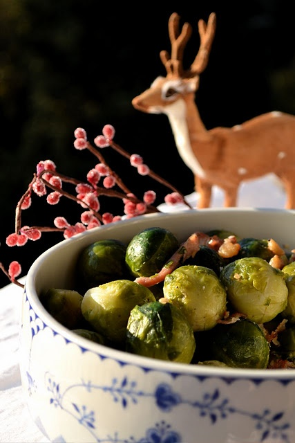 Brussels sprouts with chestnuts, bacon and parsley. Photo: LatteLisa