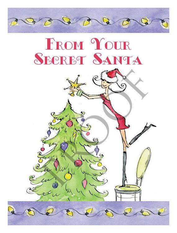 Custom Secret Santa Christmas Wine or Spirits Label