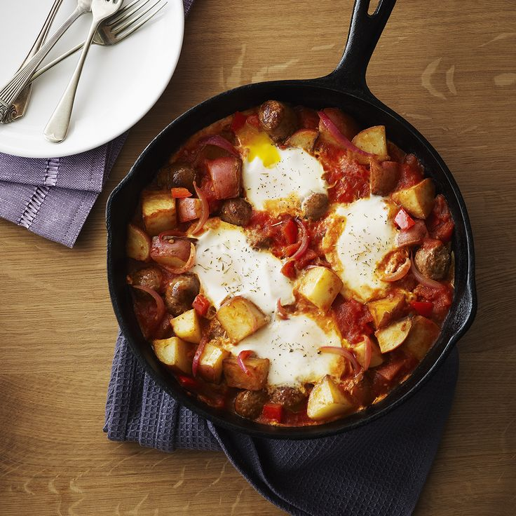 Baked Eggs & Chicken Sausage with Potatoes | Recipe