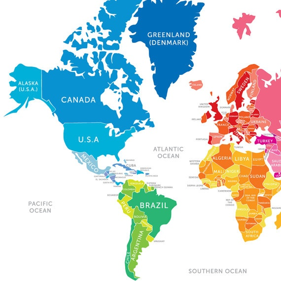 Bright and Colorful World Map