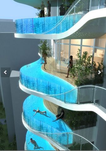 James Law Cyberture has plans to build a condominium tower that has glass-walled balcony. #immaginato. #architecture. #pools. #concept.