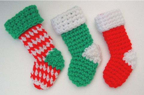 Free Crochet Patterns For Mini Christmas Stockings : Pin by Suzanne Cunningham on Crochet or Knitting for the ...