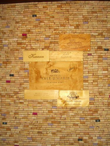 cork wall with wine crate art love it wine and cheese