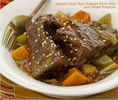Sesame Root Beer Braised Short Ribs with Sweet Potatoes
