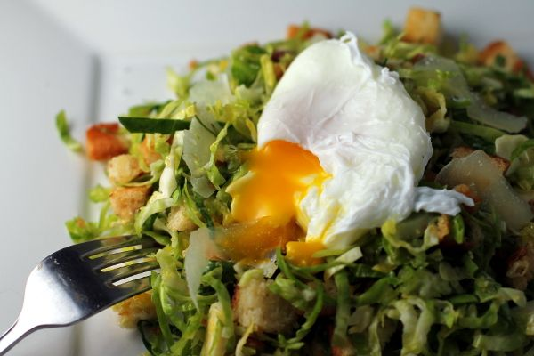 Shredded Brussels Sprout Salad with Warm Lemon-Chili Vinaigrette | Re ...
