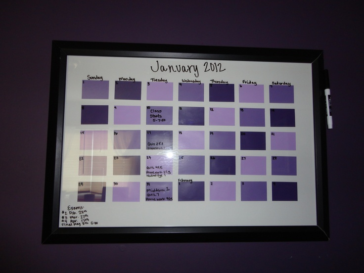 Paint chip, dry erase board calender