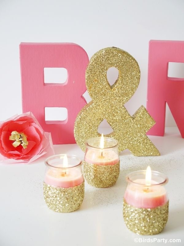 DIY Pink Candles and Glitter Candle Holders - tutorial for both the candle inside + the candle holders - from Bird's Party Blog