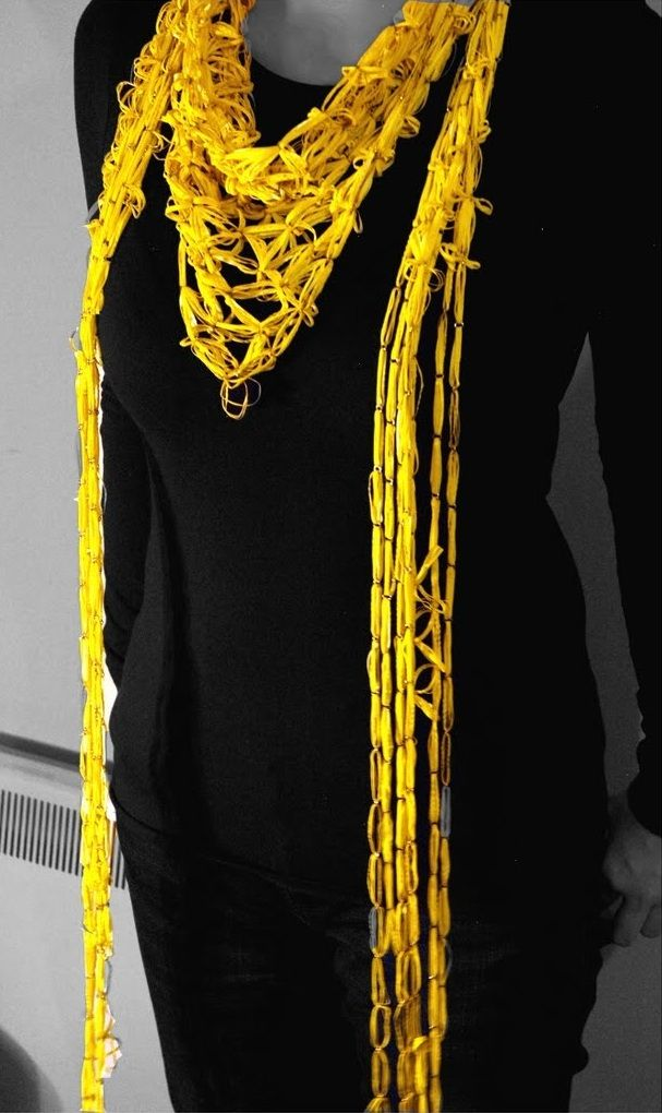 Xiaorui Zhang -  rubber gloves  necklaces yellow 1