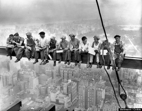 lunch atop skyscraper, new york, photo turns 80