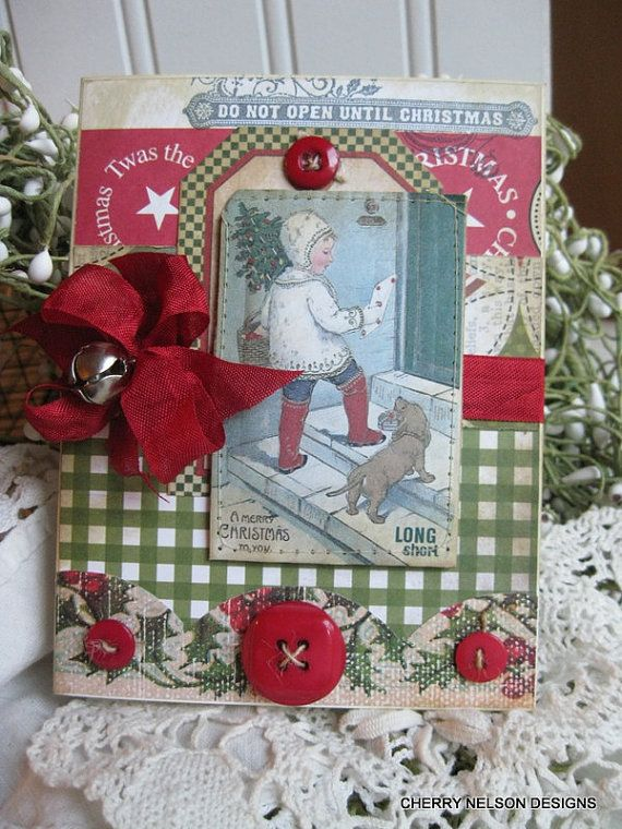 Country christmas card little girl and dachshund dog handmade stitch