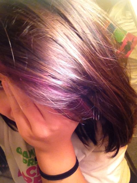 Purple highlights in dark brown hair | Makeup, hair, nails | Pinterest