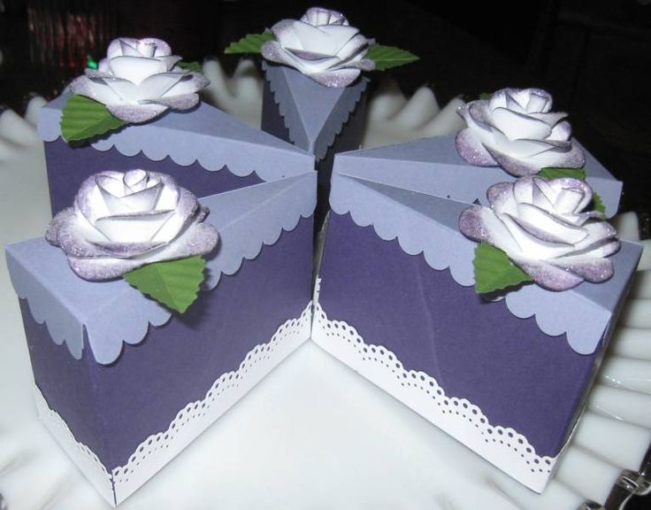Wedding Cake Slice Favor Craft Cake Boxes Pinterest