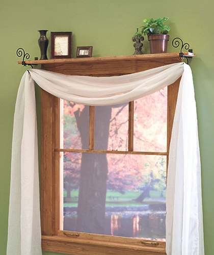 Pc Leaf Design Curtain Rod Shelf Brackets Decorative Window Treatme ...