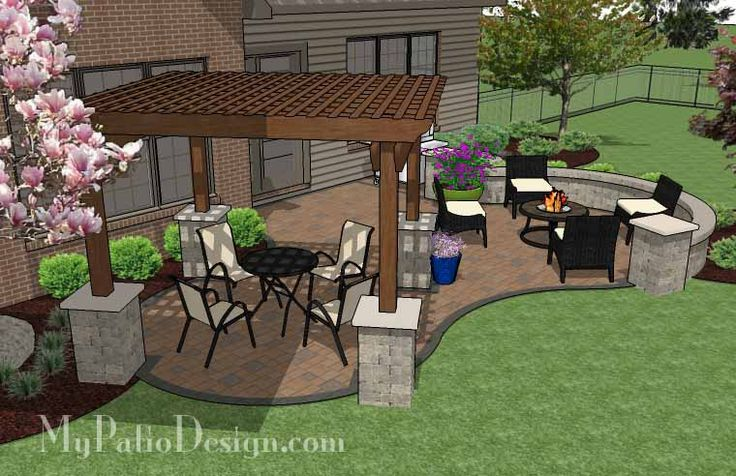 Backyard patio design with pergola fire pit area and for Patio designs for small areas