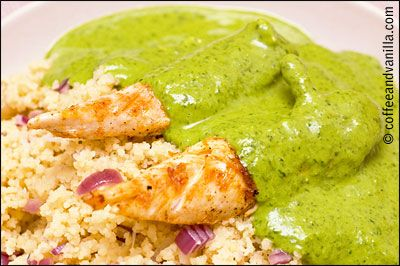 Smoked Chicken with Coriander, Red Onion, Couscous and Green Sauce