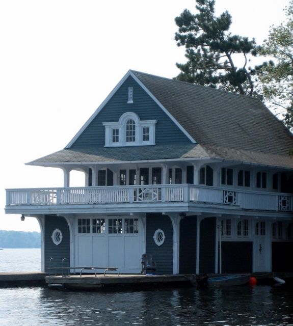 Great boathouse with the cottage upstairs.