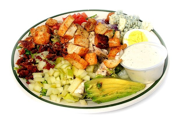Cobb Salad Mixed greens, chicken breast strips, diced bacon, croutons ...