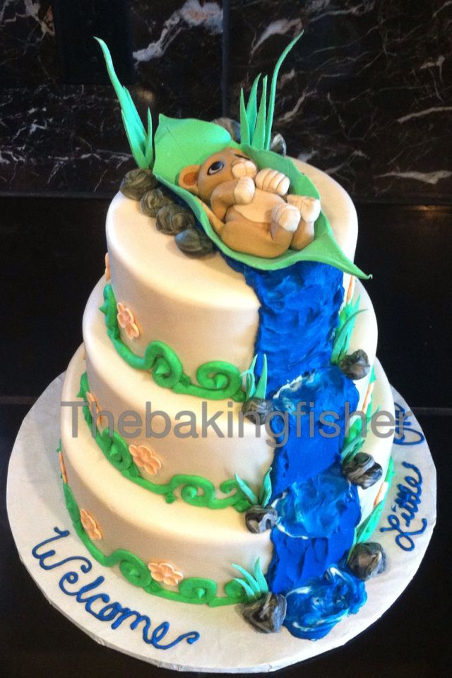 simba baby shower cake thebakingfisher pinterest