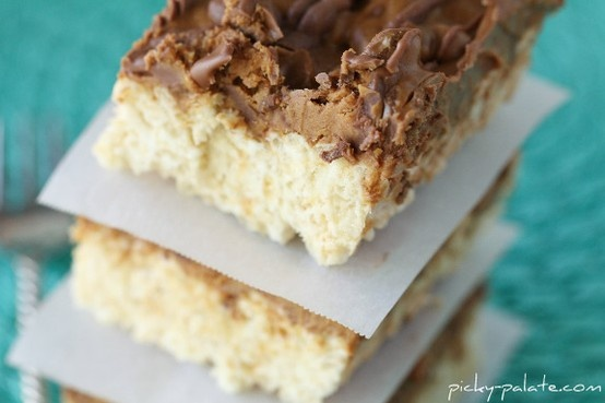 Chocolate Peanut Butter Cup Layered Krispie Treats