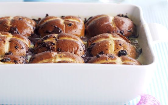 Chocolate hot cross bread and butter pudding   Recipe