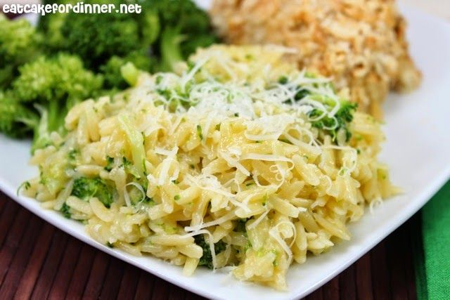 Cheesy Broccoli Orzo -- can also be made with spinach