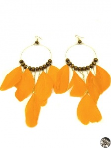 Dámske náušnice pierka, drevené korálky, oranžové 10169 www ...