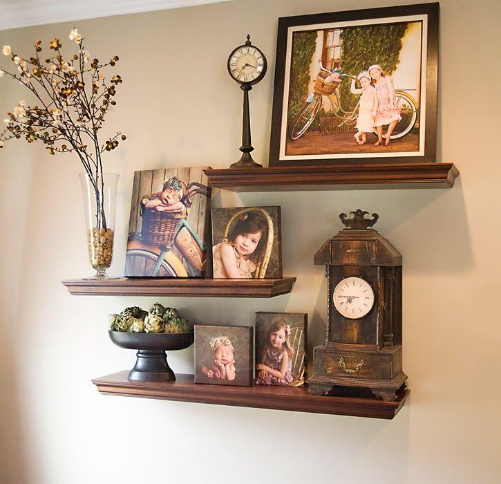 Staggered shelves home decor pinterest for Wall decor arrangements