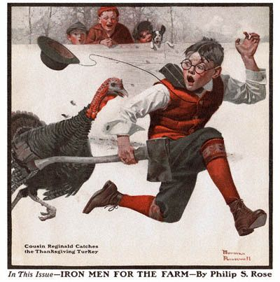 <3 Norman Rockwell - Cousin Reginald Catches the Thanksgiving Turkey