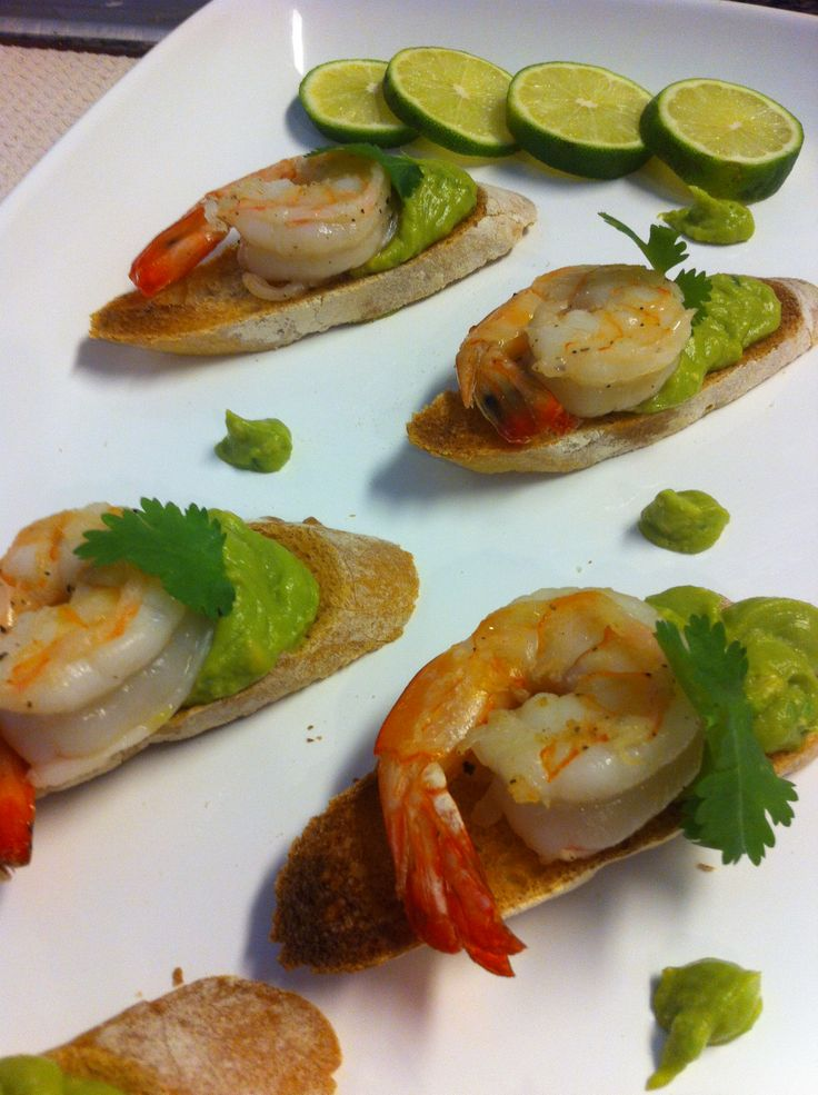 Shrimp & Avocado Mousse Crostini | Cooking ideas | Pinterest