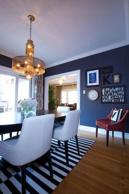 Benjamin Moore's aptly named Almost Black... I like a miscellaneous collection on the wall.