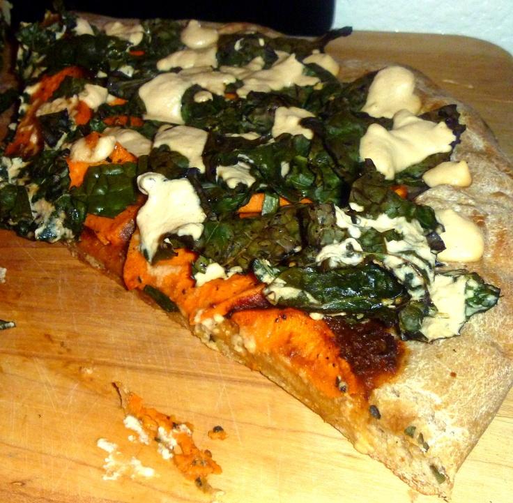 bbq sweet potato amp kale pizza w smoked onion chipotle sauce amp ...