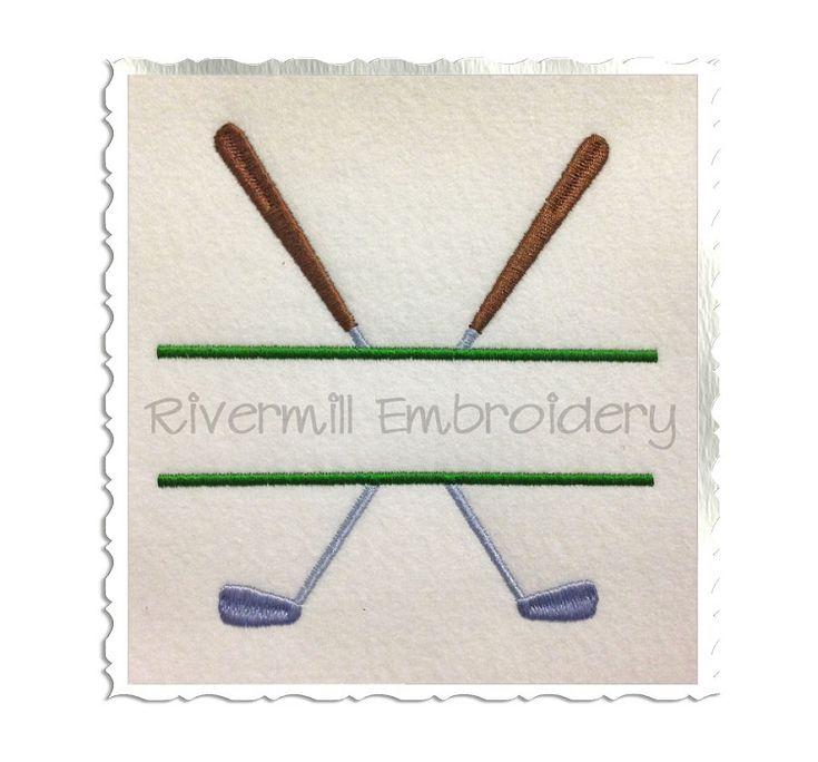Split Golf Clubs Machine Embroidery Design