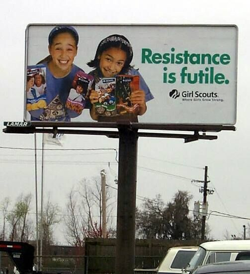 resistance is futile girl scout cookie sales pinterest