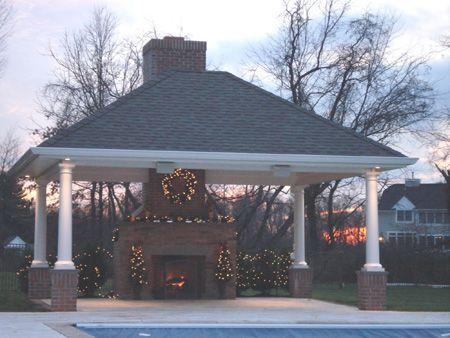 Gazebo with fireplace garden pinterest - Outdoor gazebo plans with fireplace ...