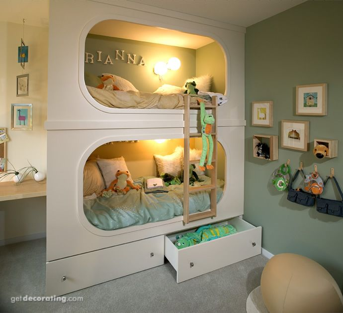 Built in bunk beds - I think the girls would love these!  I don't know if the cats would appreciate the straight ladder, though.