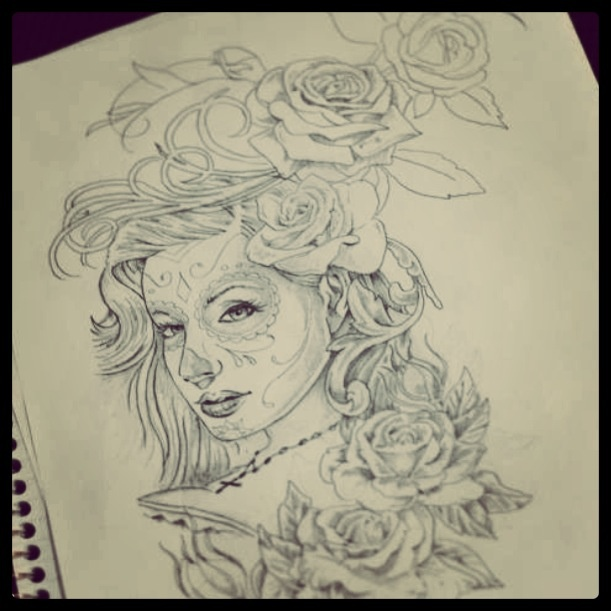 Sugar Skull And Rose Drawings | www.imgkid.com - The Image ...