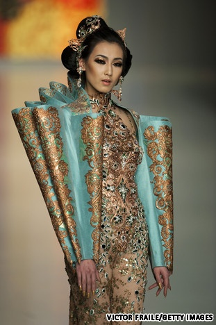 Beijing couturier Guo Pei, who designed costumes for the Beijing Olympics medal award ceremonies, presented her collection at the Hong Kong Convention and Exhibition Centre, Collection Fall/Winter 2010.